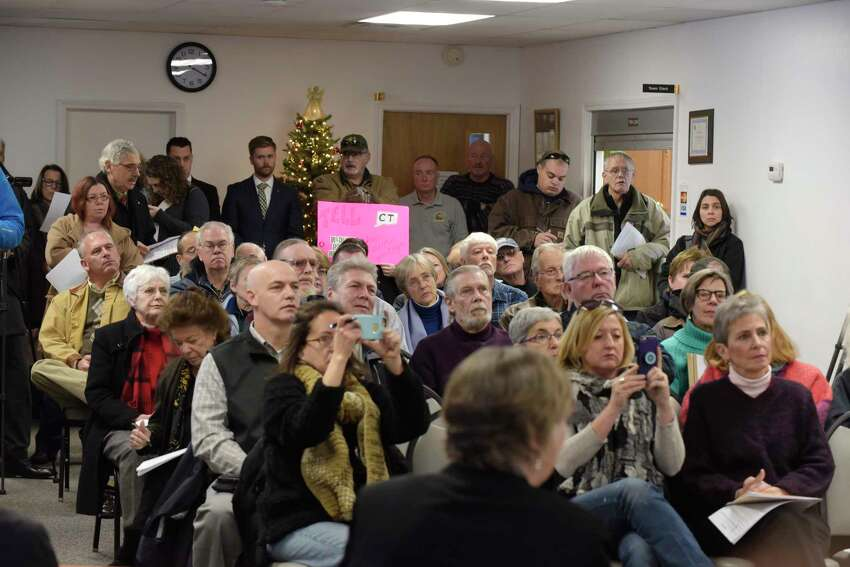 Coeymans Town Hall is filled as people gathered in December 2017 for a public meeting to talk about potential plans for the Lafarge cement plant to burn municipal waste from Hartford, Ct. (Paul Buckowski /Times Union archives)