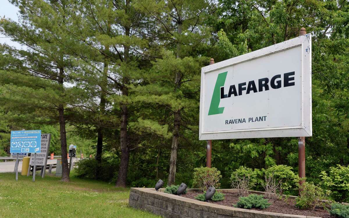 Entrance to the LafargeHolcim cement plant off Route 9W. (John Carl D'Annibale /Times Union archives)