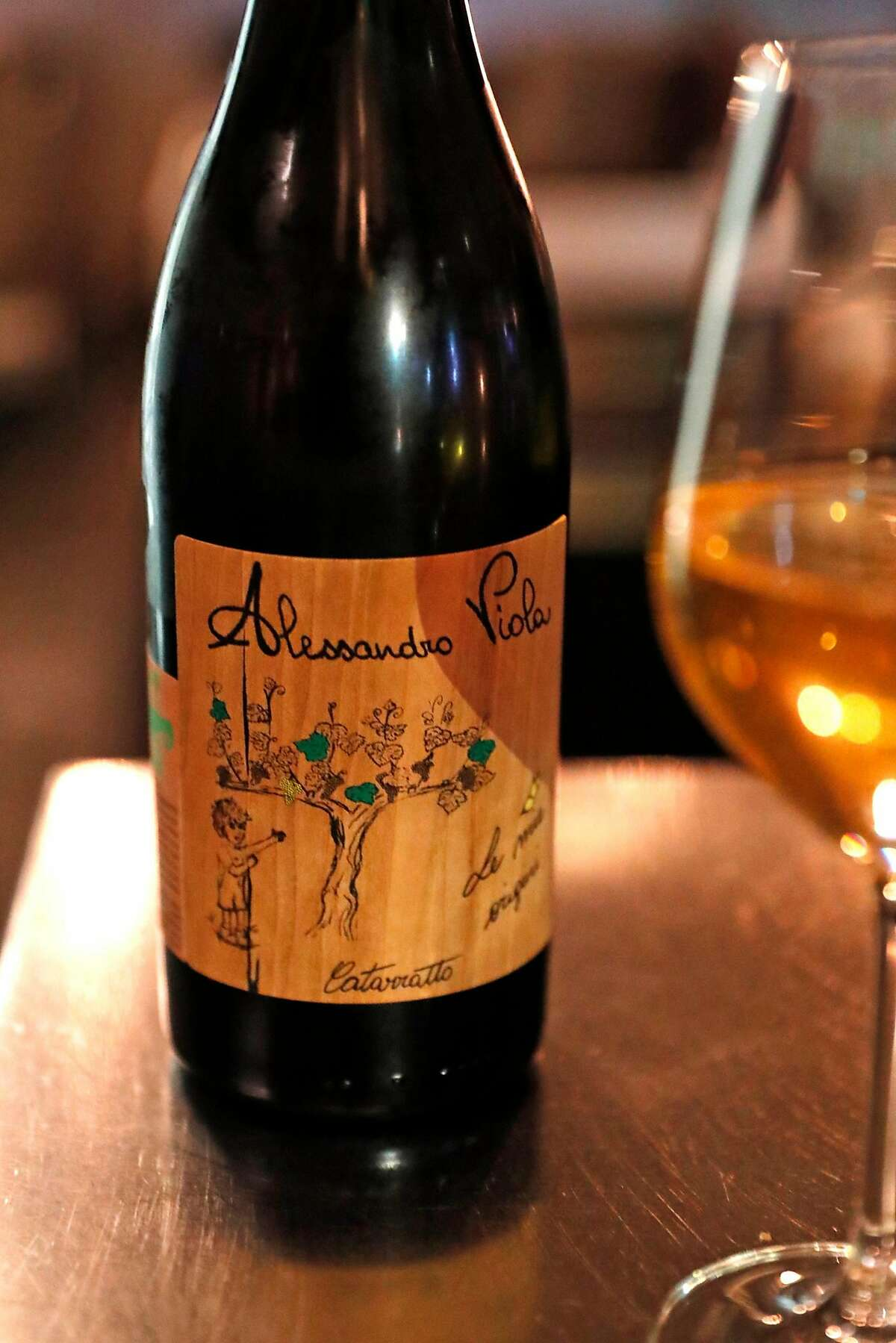 A bottle of Alessandro Viola Catarratto at Lord Stanley in San Francisco, Calif., on Wednesday, February 20, 2019.