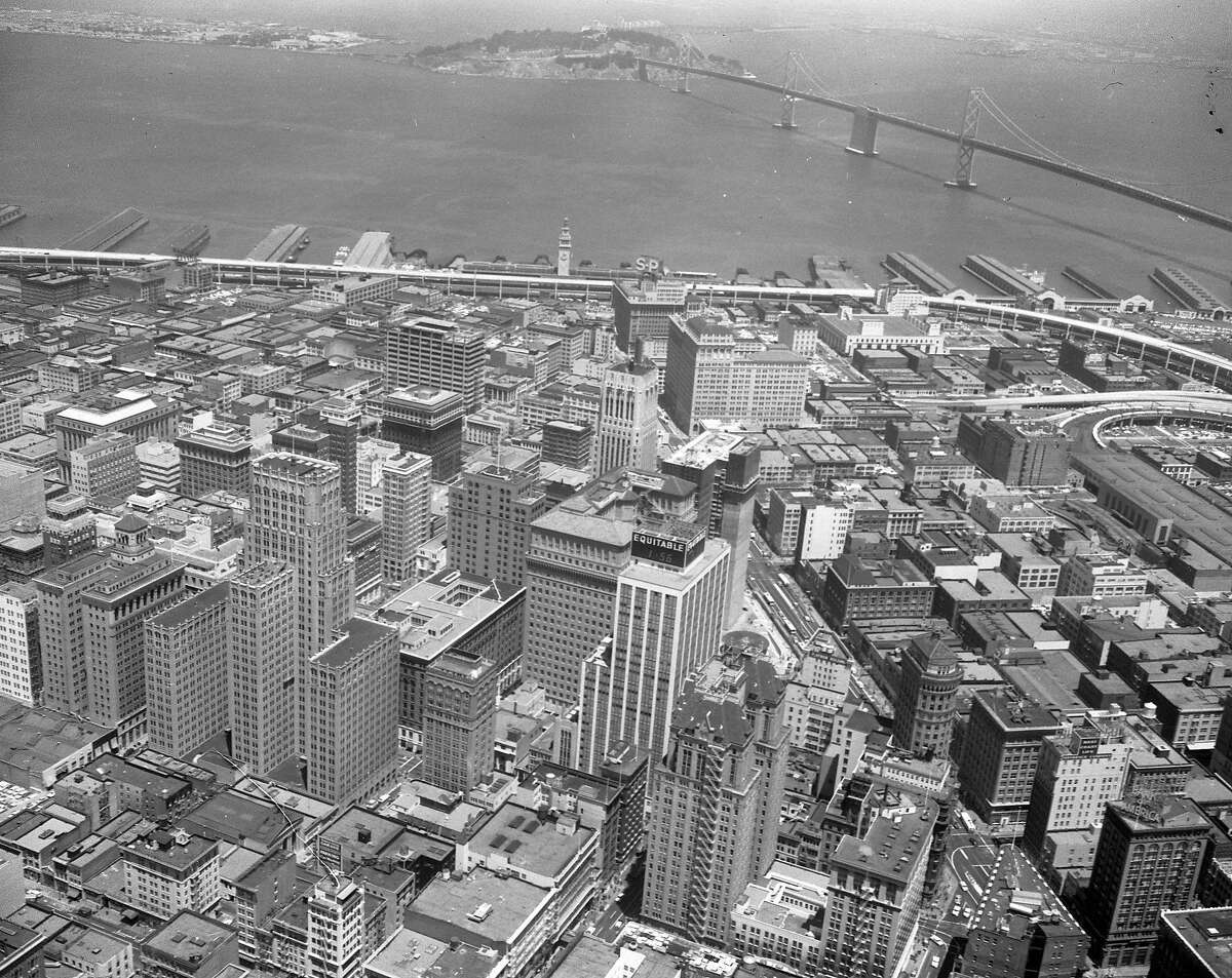 Aerial Photo of San Francisco, July 2, 1959 Highrises in the Financial District with the Bay Bridge in the background