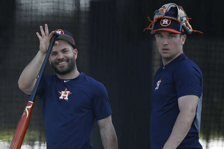 The Astros' Jose Altuve, left, and Alex Bregman singled twice and homered, respectively, in Monday's Grapefruit League action.