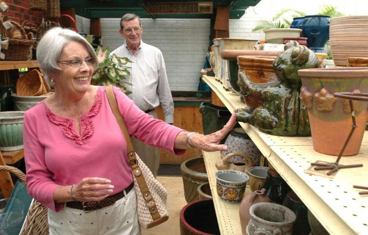 Pat Ring and her husband, Dennis, of Stratford, shop at Hollandia Nurseries in Bethel, July 23, 2010.