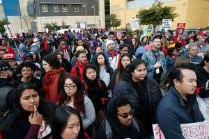 School teachers, students and parents continue to picket in front La Escuelita Elementary and Metwest High schools despite a tentative agreement that has been reached in the teachers strike in Oakland, Calif. on Friday, March 1, 2019.