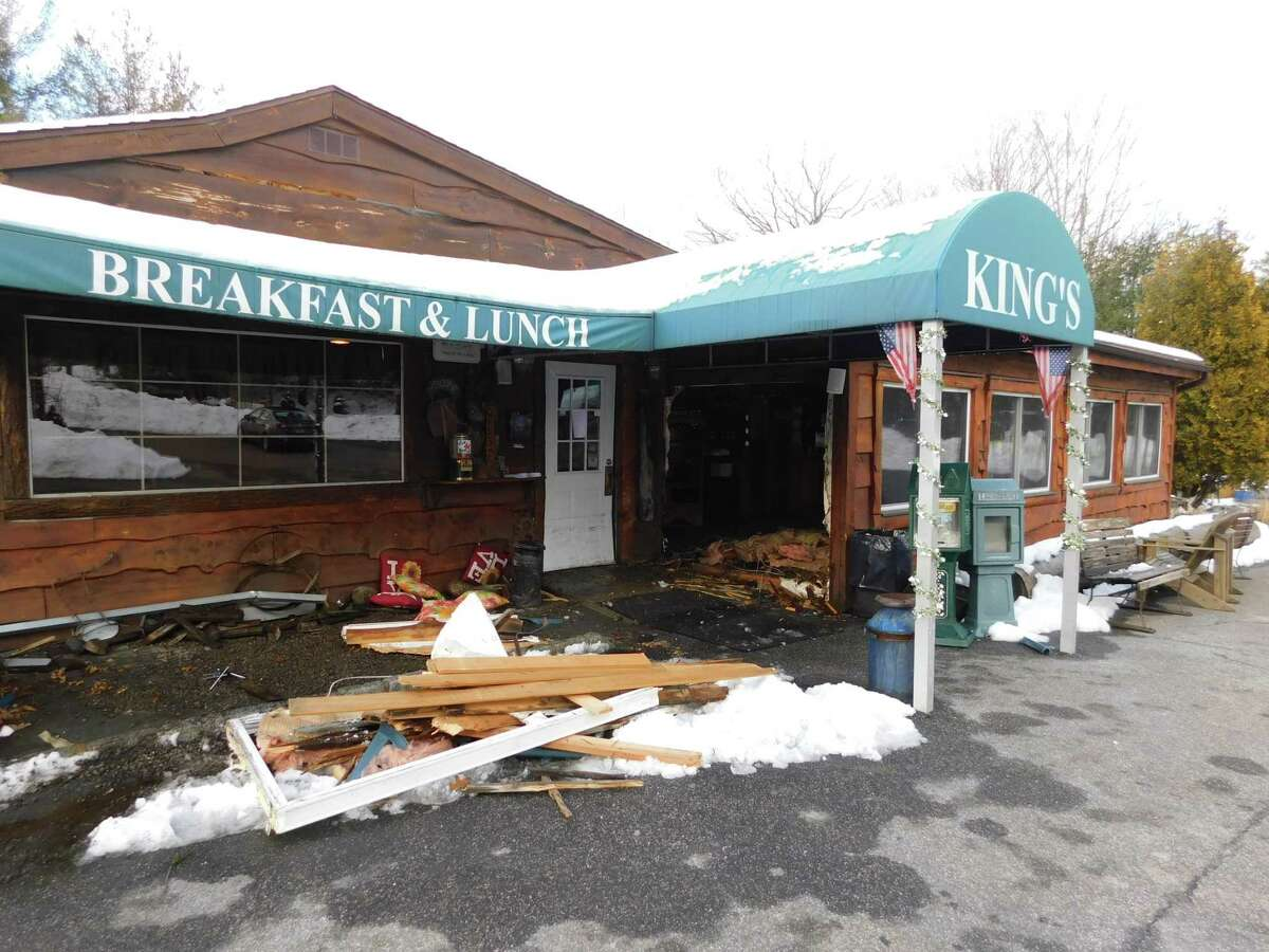 An SUV crashed into King's Breakfast & Lunch near the restaurant's entrance Monday afternoon.