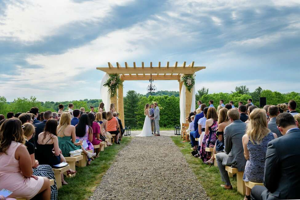 The Shank wedding at June Farms in West Sand Lake in spring 2018 was featured on