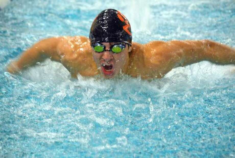 Edwardsville's Porter LeVasseur competes in the 200-yard individual medley during a meet last season. Photo: Scott Marion/Intelligencer