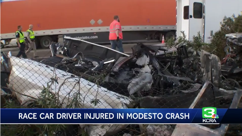 Race car driver Tanner Thorson injured in fiery Modesto