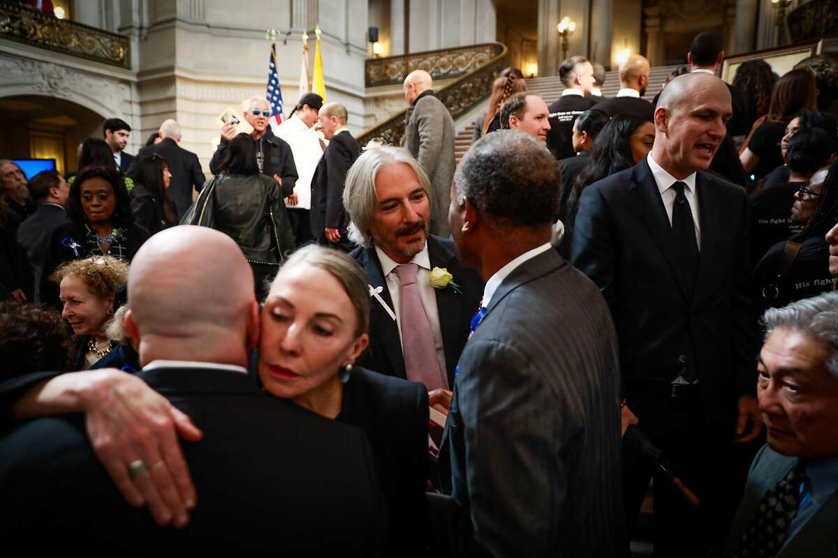Chief Attorney of the San Francisco Public Defenders office Matt Gonzalez (center) after Public Defender Jeff Adachi's memorial service at City Hall in San Francisco, California, on Monday, March 4, 2019.