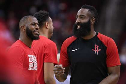 d542c79acf81 Houston Rockets guard Chris Paul (3) and guard James Harden (13) joke  around during before the start of an NBA basketball game at Toyota Center  on Monday