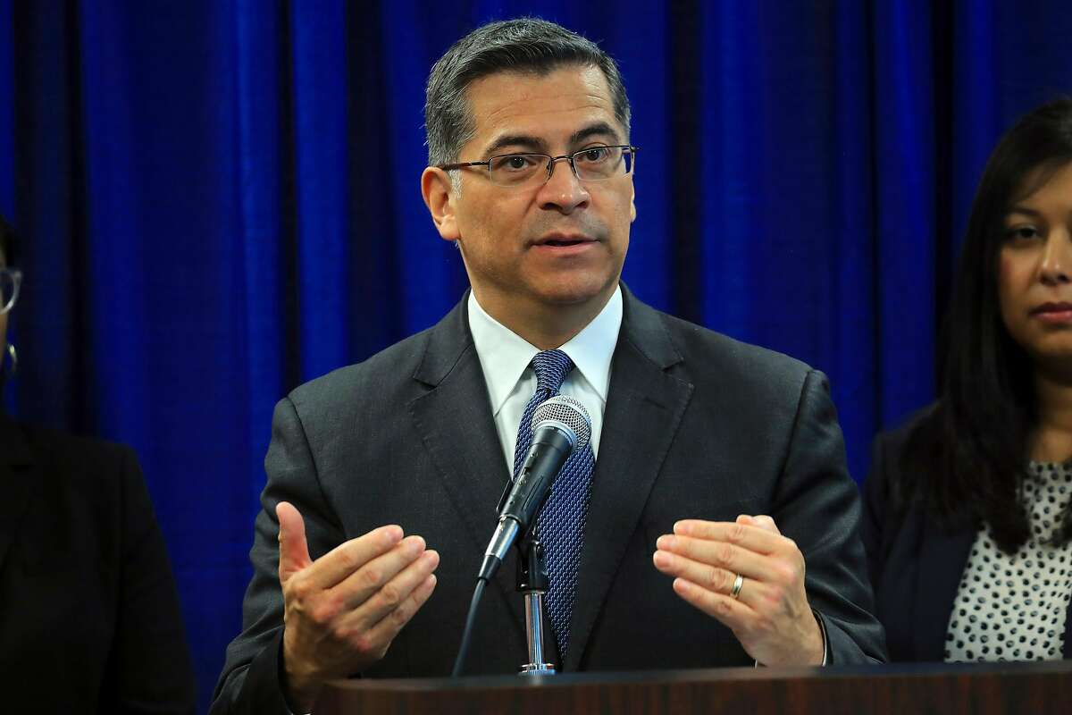 """Attorney General Xavier Becerra of California speaks to reporters in San Francisco, Feb. 26, 2019. Becerra filed a lawsuit on March 4 to block a controversial move by the Trump administration that would strip millions of dollars from Planned Parenthood and similar reproductive health service providers that receive federal funding. """"Jeopardizing the health of women is not what we should be doing in the year 2019,"""" he said. (Jim Wilson/The New York Times)"""