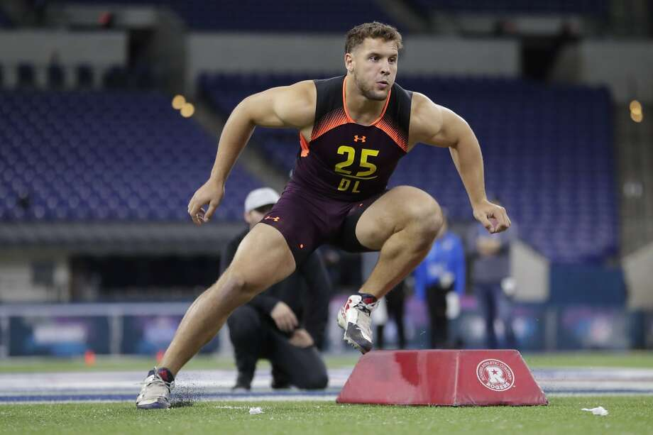 Ohio State defensive lineman Nick Bosa runs a drill at the NFL football scouting combine in Indianapolis, Sunday, March 3, 2019. (AP Photo/Michael Conroy) Photo: Michael Conroy / Associated Press