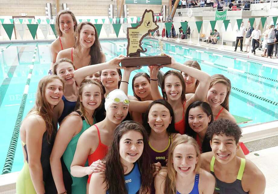 Greenwich Academy finished first at the NEPSAC Swimming & Diving Championships for the third straight season. GA completed its victory on Sunday at Deerfield Academy. Photo: Contributed Photo / Contributed Photo / Greenwich Time Contributed Photo
