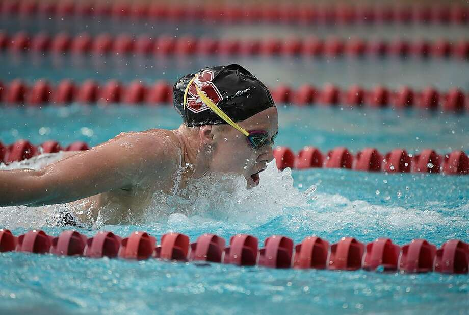 Ella Eastin is among 18 Cardinal swimmers who qualified for the NCAA national championships beginning Wednesday. No. 1 Stanford is gunning for its third straight title. Photo: Courtesy Of John Todd/Stanford Athletics