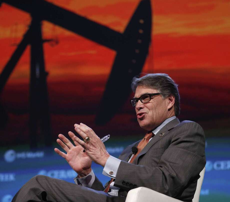 Energy Secretary Rick Perry talks as he participated in a panel with Mexico's Secretary of Energy, Pedro Joaquin Coldwell and Canadian Minister of Natural Resources James Gordaon Carr at the CERAWeek conference in 2018. ( Karen Warren / Houston Chronicle ) Photo: Karen Warren, Staff / Houston Chronicle / © 2018 Houston Chronicle
