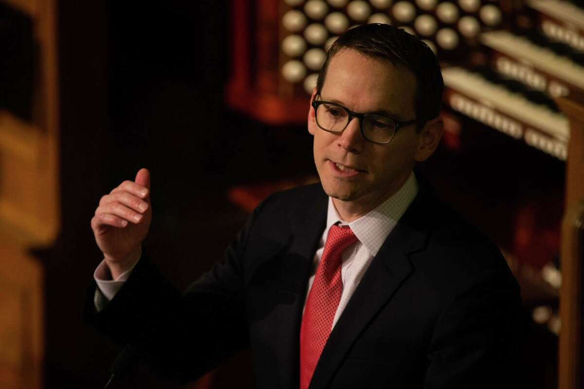 In this February file photo, Texas Education Commissioner Mike Morath speaks during the Texas PTA's Rally Day at First United Methodist Church in Austin.