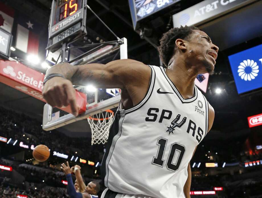 DeMar DeRozan #10 of the San Antonio Spurs reacts after not getting a foul called and received a technical for the reaction. Denver Nuggets v San Antonio Spurs at the AT&T Center on Monday, March 4, 2019. Photo: Ronald Cortes/Contributor