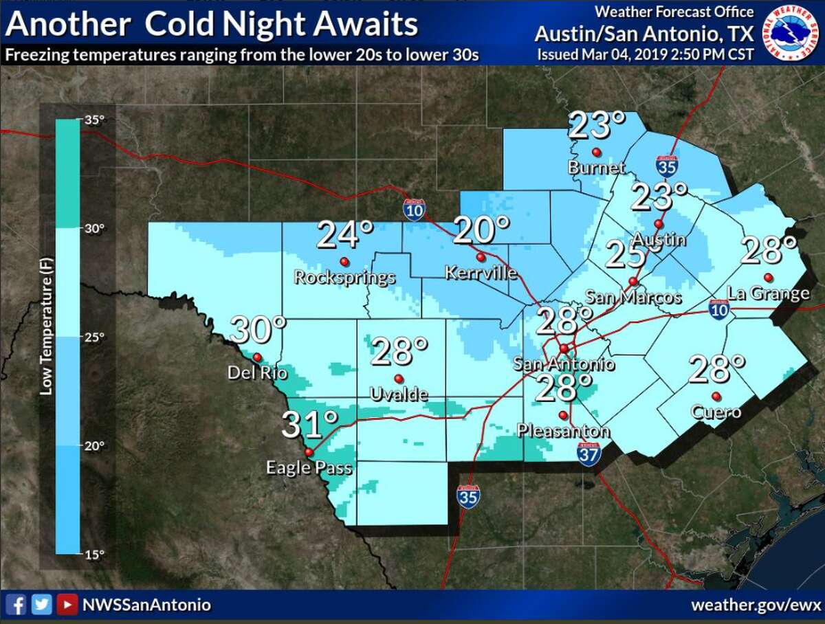 Another cold night is in store across the entire area with freezing temperatures expected early Monday evening across parts of the Hill Country and spreading to the south as time goes by, according to the National Weather Service.