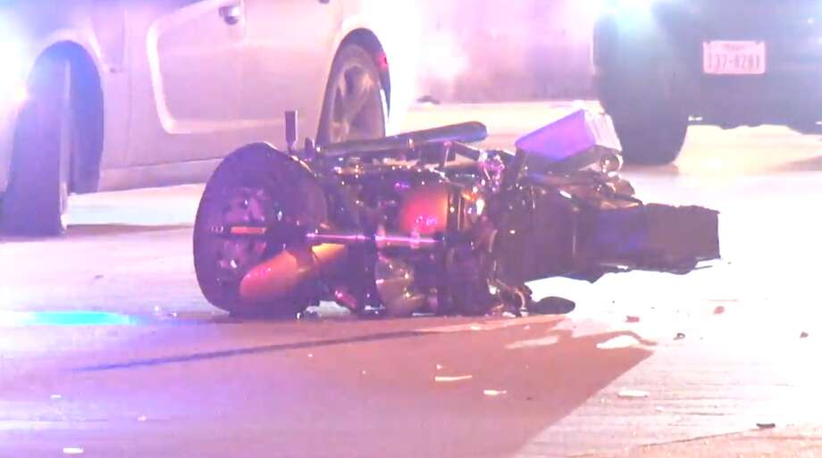Police said the motorcycle rider failed to control his speed Monday night when he hit the back of a flat bed truck on the Eastex Freeway near Crosstimbers. Photo: Metro Video