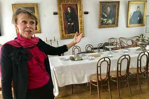 Galina Alexeeva describes the dining room in Leo Tolstoy's mansion on his estate, Yasnaya Polyana in Tula, Russia, Albany's sister city.
