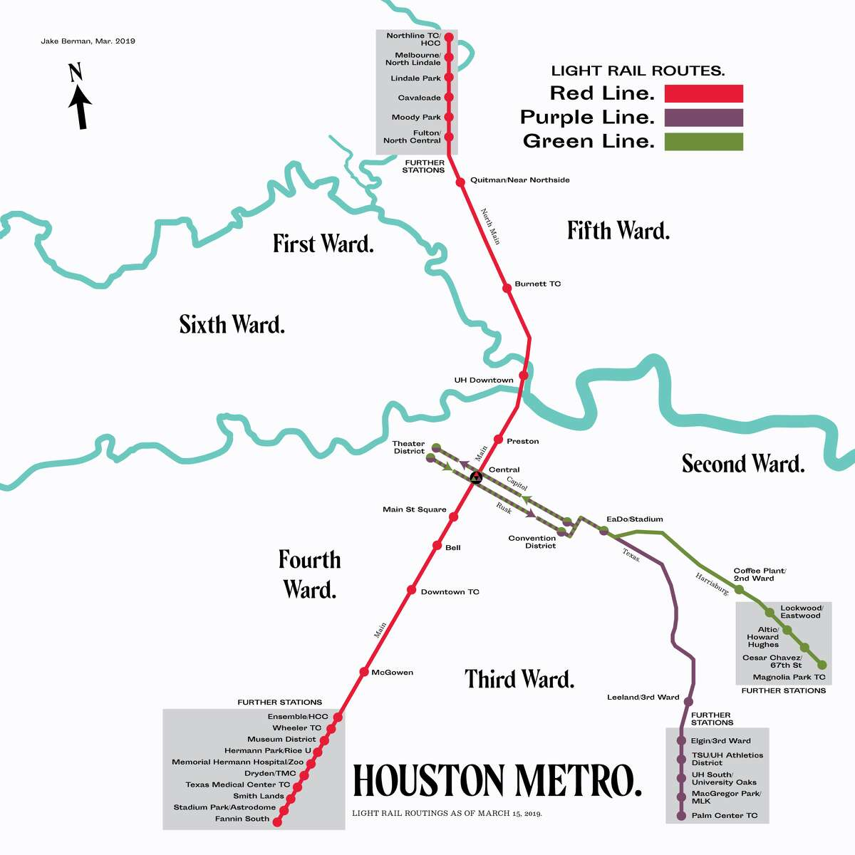 Houston's light rail routings (Artist rendering) Year: 2019