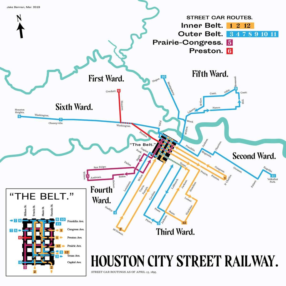 Houston's street car routings (Artist rendering) Year: 1895