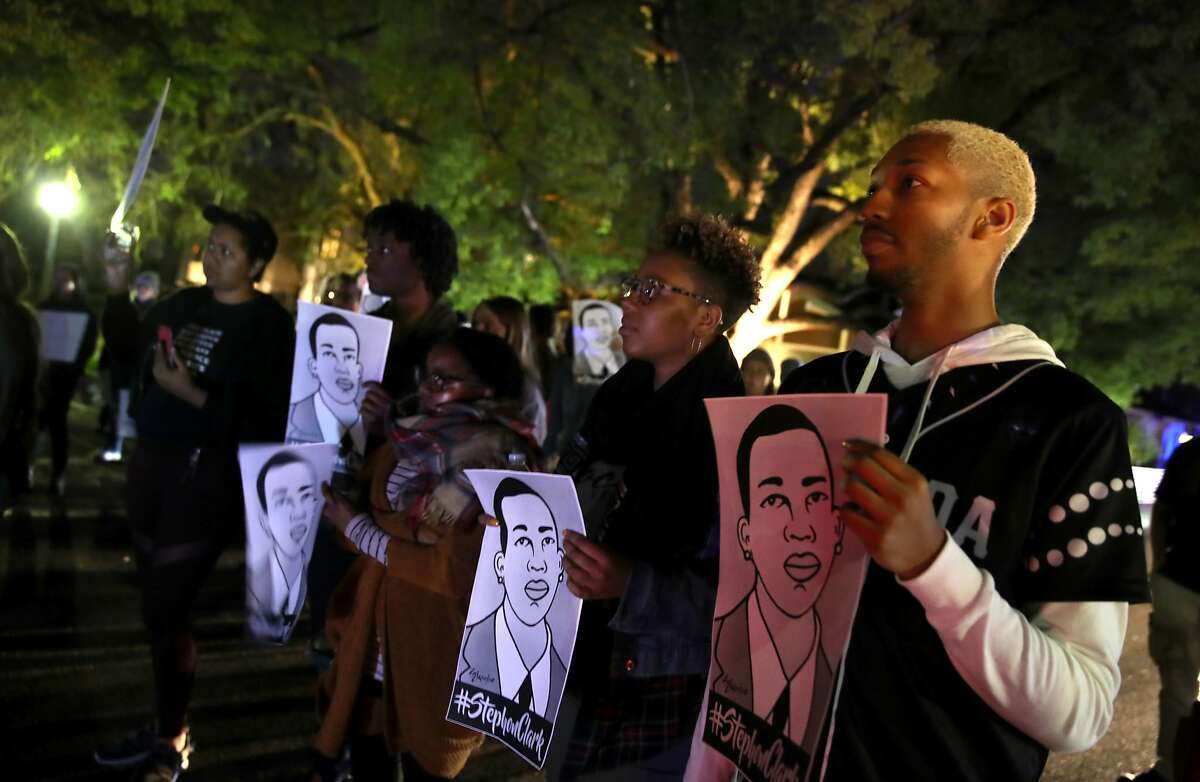 Black Lives Matter protesters march through the streets as they demonstrate the decision by Sacramento District Attorney to not charge the Sacramento police officers who shot and killed Stephon Clark on March 04, 2019 in Sacramento, California.