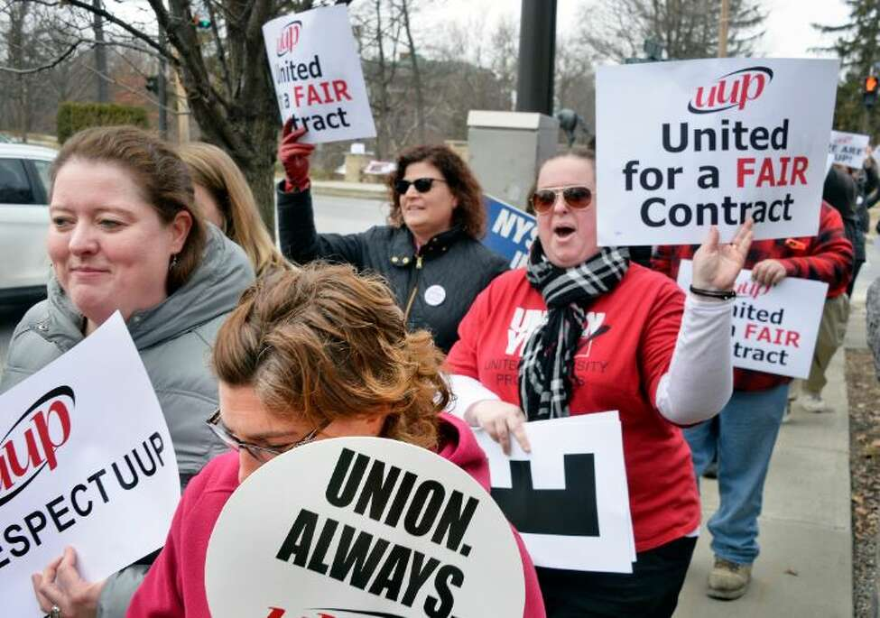 United University Professions (UUP) demonstrate outside Empire State College Thursday March 1, 2018 in Saratoga Springs, NY.