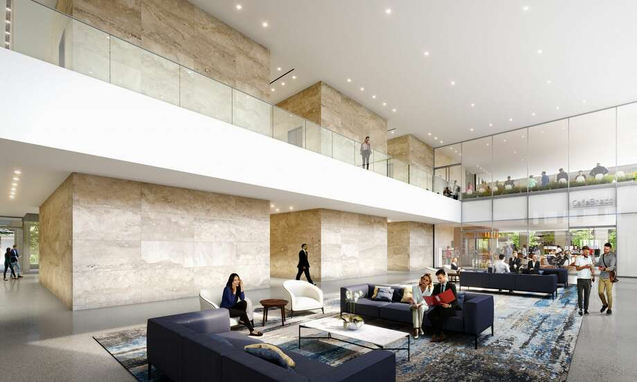 The renovations will include a new two-story lobby at Two Allen Center. Photo: Renderings Courtesy Of Brookfield Properties