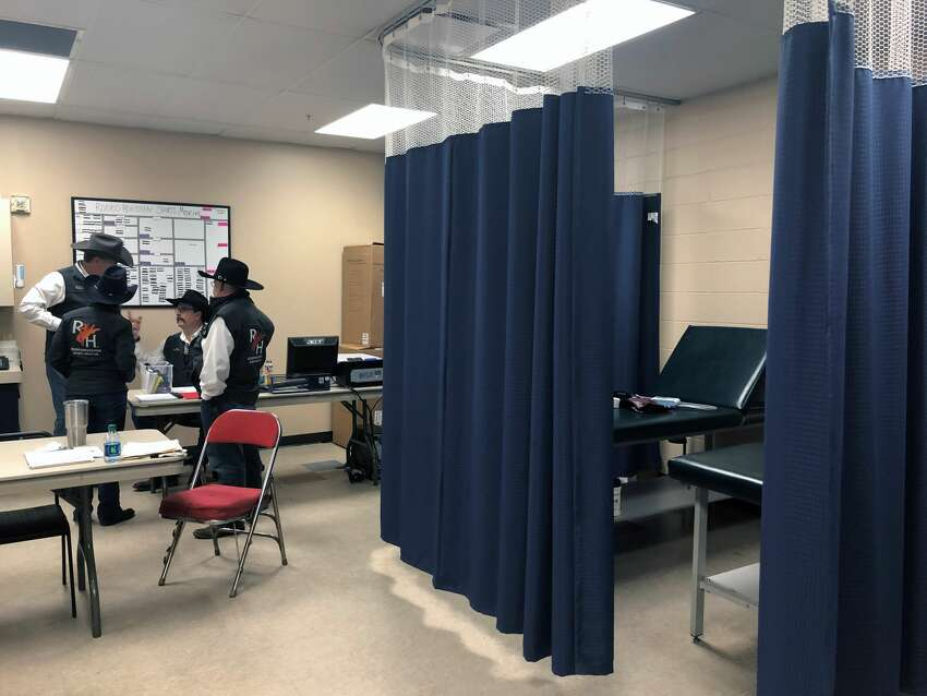 The facility, located underneath NRG Stadium, takes up three rooms: a training room with four exam tables and massage and chiropractor stations, a larger room with stretchers, two exam tables and various medications, and an x-ray room directly across the hall.