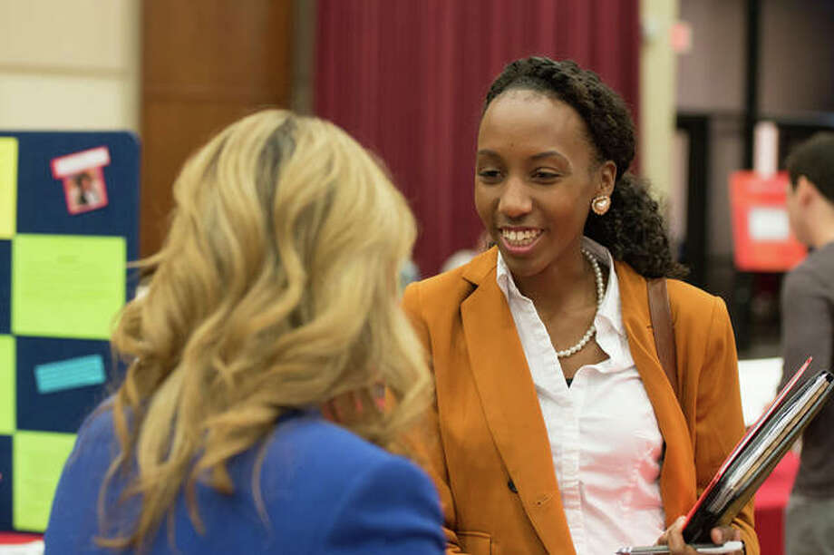 A prospective student considering a career in higher education attends a previous Visit Day event hosted by Southern Illinois University Edwardsville's CSPA graduate program. Photo: For The Intelligencer