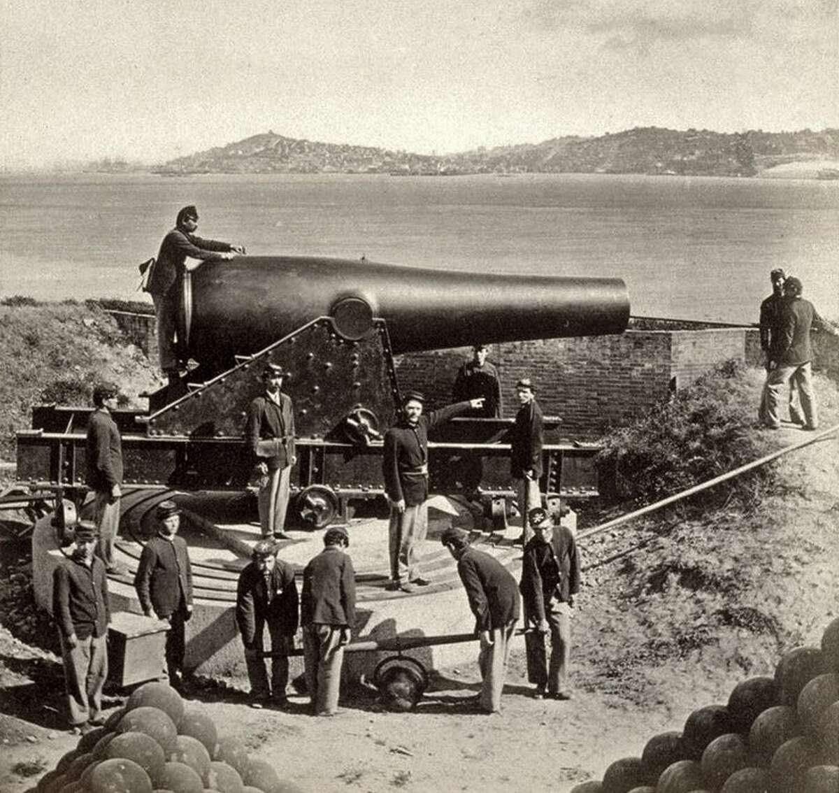 A 1869 gun crew at Alcatraz with a 15-inch Rodman cannon.