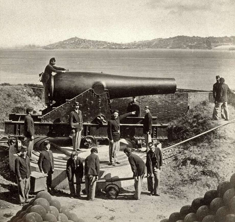 A 1869 gun crew at Alcatraz with a 15-inch Rodman cannon. Photo:  National Park Service / GGNRA