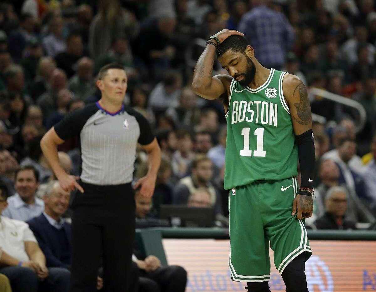 Boston Celtics' Kyrie Irving during the first half of an NBA basketball game against the Milwaukee Bucks Thursday, Feb. 21, 2019, in Milwaukee. (AP Photo/Aaron Gash)