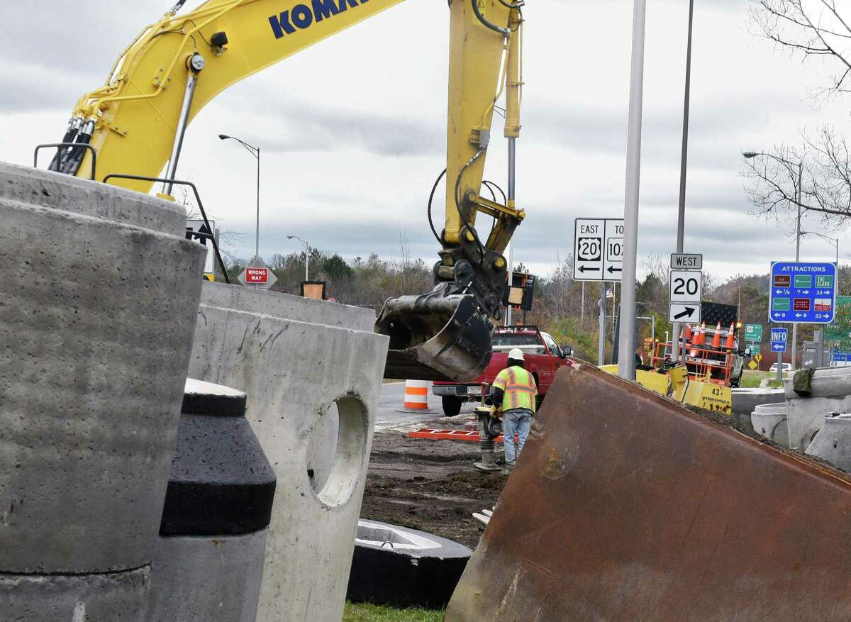 In a file photo, construction on the electronic toll system along the Massachusetts Turnpike was seen in October, 2016.