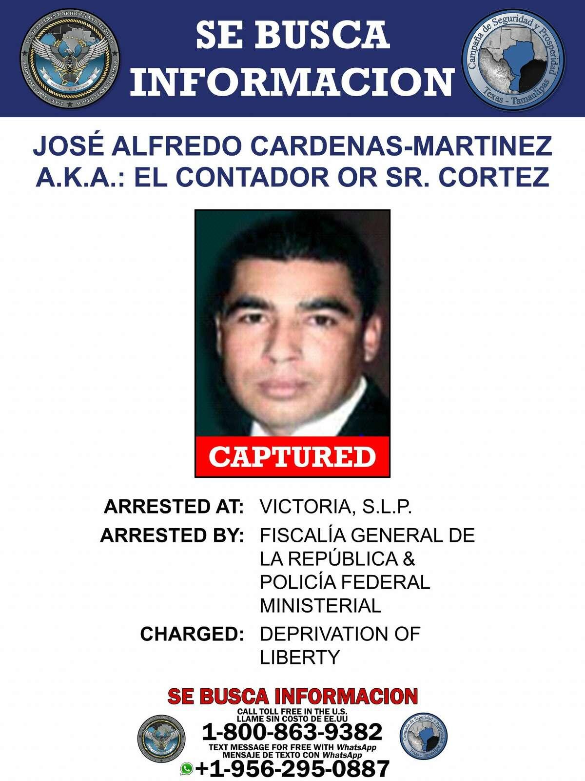 "A regional leader of the Gulf Cartel, Jose Alfredo Cardenas Martinez a.k.a. ""El Contador,"" has been apprehended."