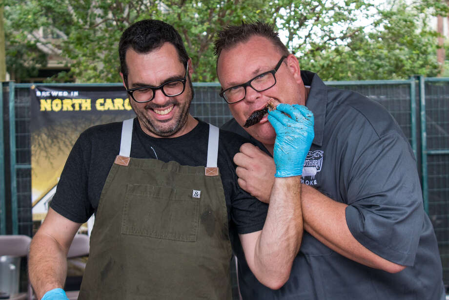 Barbecue legend Aaron Franklin of Franklin Barbecue in Austin will join chef Chris Shepherd for the ultimate steak dinner in Houston on April 14 during Southern Smoke Spring. Photo: Southern Smoke / Michelle Watson