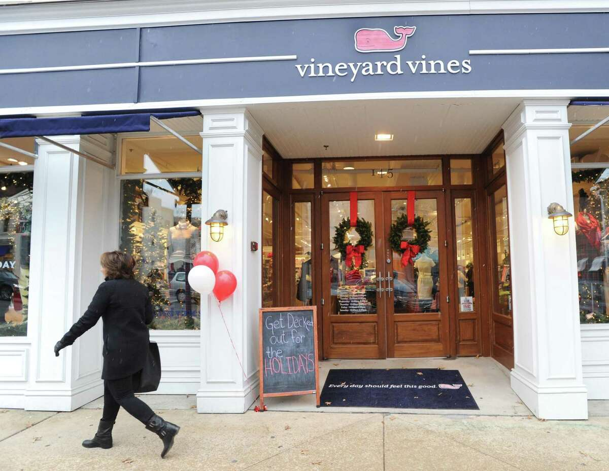 The Vineyard Vines store holiday window display at 145 Greenwich Ave.