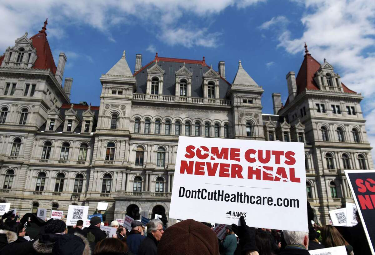 Demonstrators participate in a healthcare advocacy day rally outside the Capitol on Tuesday, March 5, 2019, in Albany, N.Y. Contingents from hospitals and healthcare facilities gathered in Albany to urge lawmakers to restore $550 million in funds that were slashed from the governor's original budget proposal to help plug a larger-than-expected revenue shortfall. (Will Waldron/Times Union)