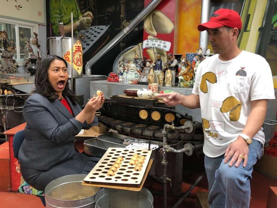 San Francisco Mayor London Breed at the Golden Gate Fortune Cookie Factory with co-owner Kevin Chan. Photo: Courtesy: Kevin Chan