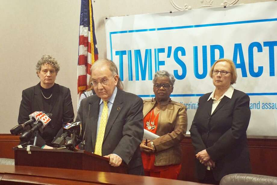 Senate President Pro Tempore Martin Looney, D-New Haven, introduced the Time's Up Act at the Capitol in Hartford, Conn. on Tuesday February 20, 2018 with fellow Democrats (L to R) Sen. Beth Bye of West Hartford, Sen. Marilyn Moore of Bridgeport and Sen. Terry Gerratana of New Britain. Photo: Emilie Munson
