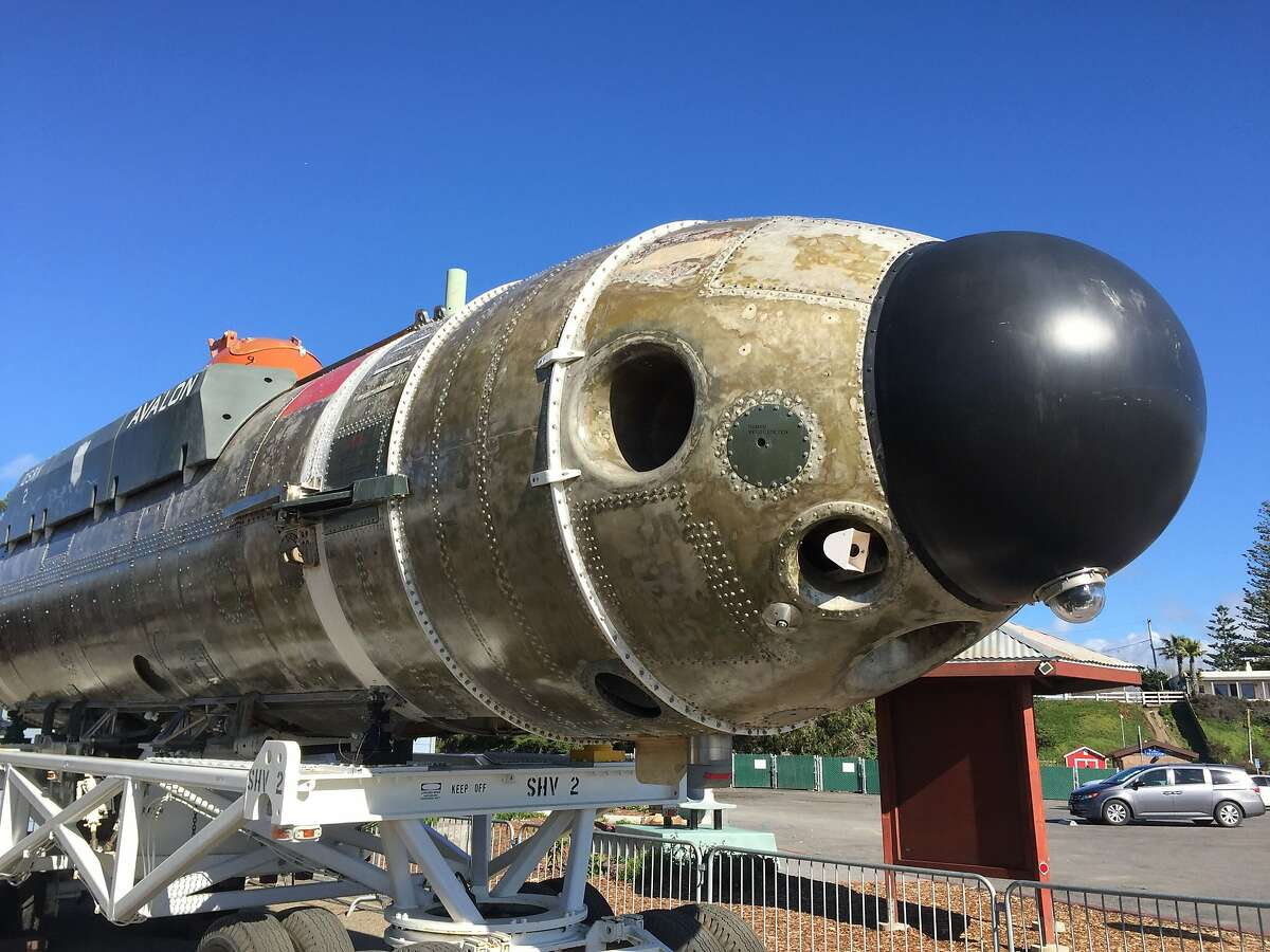 Deep-submergence rescue vehicle from the 1970s is on display across from the harbor near Morro Rock in Morro Bay.