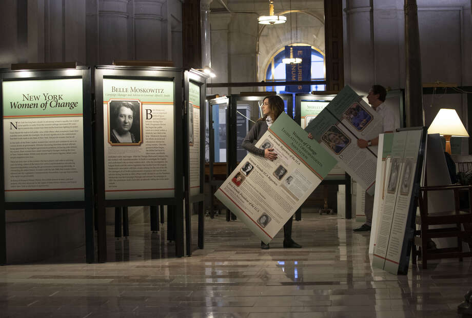 An exhibit devoted to notable women in government is assembled on the second floor of the state Capitol. (Executive Chamber photo) Photo: Executive Chamber