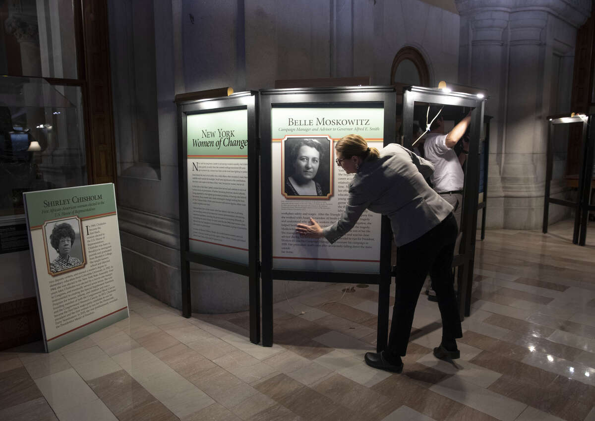 An exhibit devoted to notable women in government is assembled on the second floor of the state Capitol. (Executive Chamber photo)