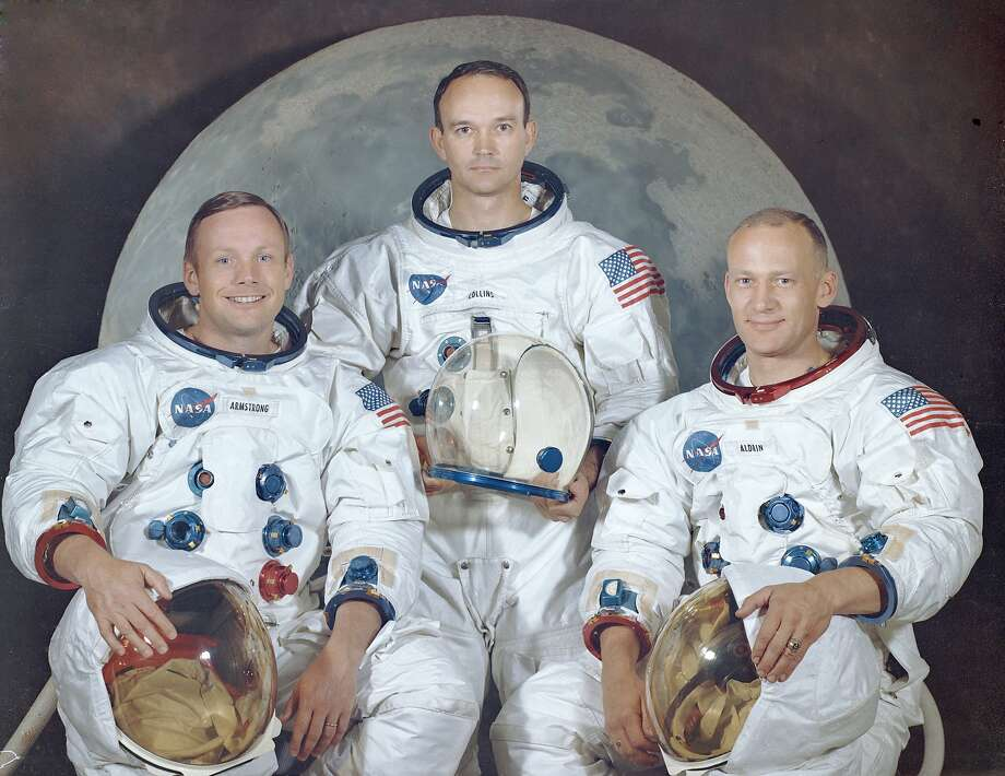 "PHOTOS: July 16, 1969: This is the official crew portrait of the Apollo 11 astronauts. Pictured from left to right are: Neil A. Armstrong, Commander; Michael Collins, Module Pilot; Edwin E. ""Buzz"" Aldrin, Lunar Module Pilot. >>> See amazing true facts about the moon landing ... Photo: Nasa, NASA"
