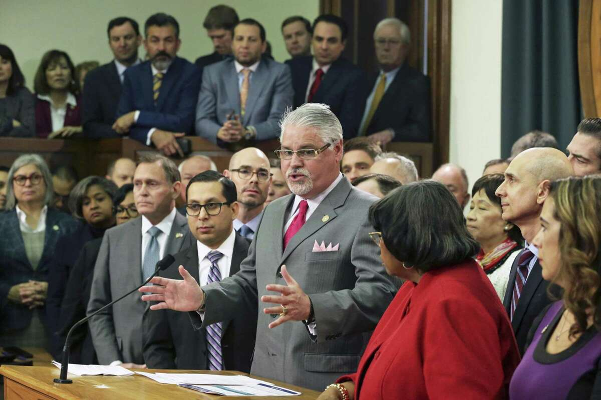 Rep. Dan Huberty explains his committee's work as the House Education bill is unveiled in the Speaker's Commmittee Room at the Capitol on March 5, 2019.