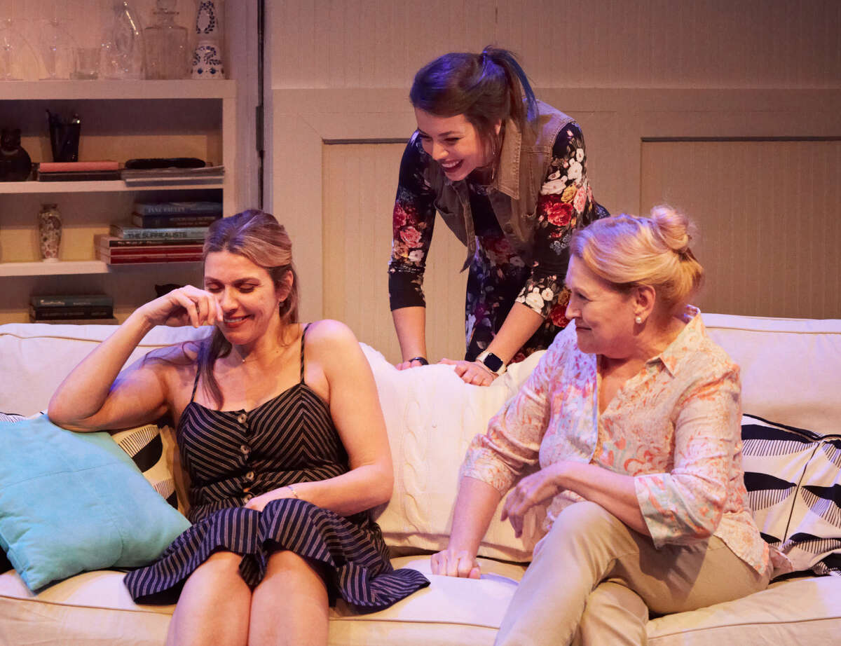 """Courtney Lomelo, Christina Austin Lopez and Susan Shofner in """"Rapture, Blister, Burn"""" at 4th Wall Theatre Co., 2019"""