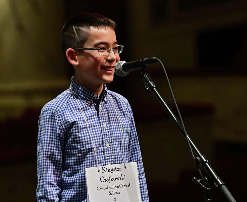 Fifth-grader Kingston Czajkowski of the Cairo-Durham Central School District smiles after being told the right spelling for a word he missed in the Capital Region Spelling Bee at Proctors on Tuesday, March 5, 2019 in Schenectady, N.Y. He came in second place. The winner will advance to the 92nd Scripps National Spelling Bee in Washington D.C. in May. (Lori Van Buren/Times Union)