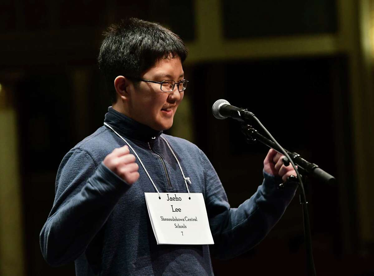 Acadia Middle School seventh-grader Jaeho Lee of the Shenendehowa School District reacts after spelling the word polyglot correctly to win the Capital Region Spelling Bee at Proctors on Tuesday, March 5, 2019 in Schenectady, N.Y. He needed to spell two consecutive words to win. His first word was Koto. He will advance to the 92nd Scripps National Spelling Bee in Washington D.C. in May. (Lori Van Buren/Times Union)