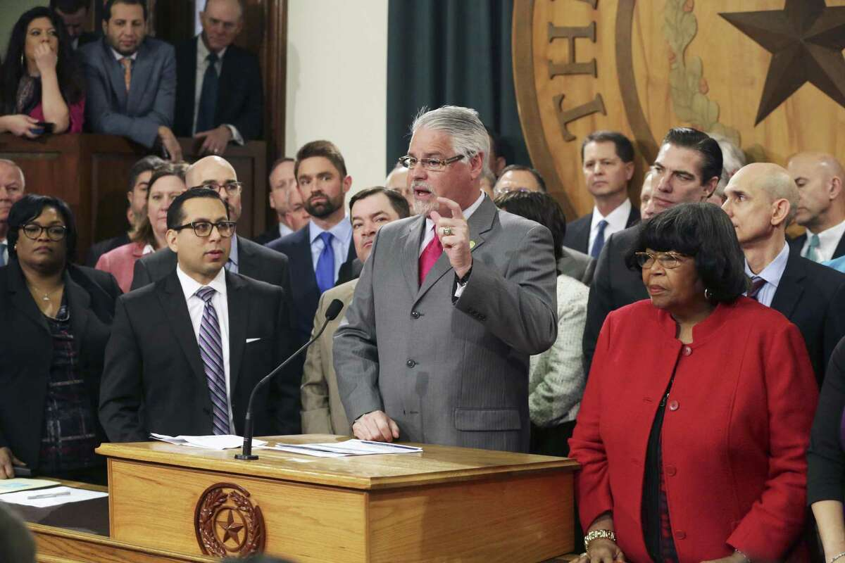 Rep. Dan Huberty explains his committee's work as the House Education bill is unveiled in the Speaker's Committee Room at the Capitol on March 5, 2019.