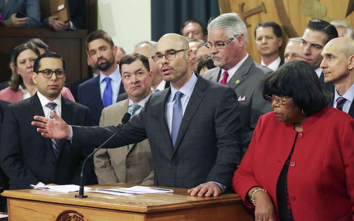 Speaker Dennis Bonnen, R-Angleton, defends the legislation after a question as the House Education bill is unveiled in the Speaker's Commmittee Room at the Capitol on March 5, 2019.
